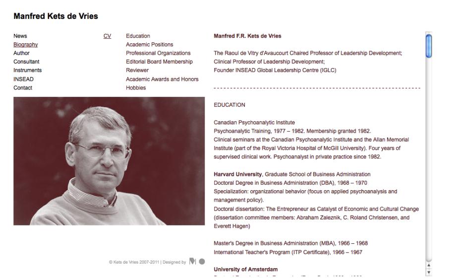 Manfred Kets de Vries - Biography - CV