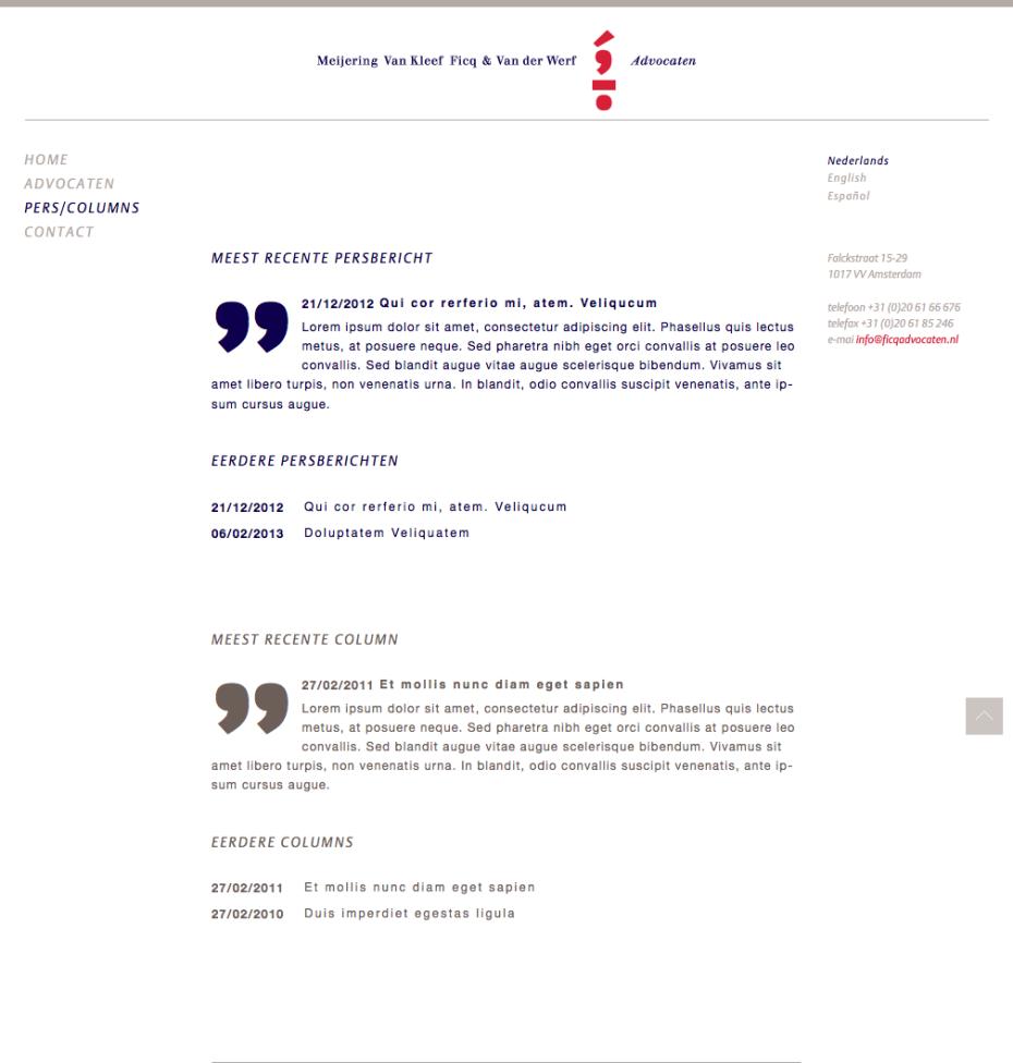Ficq Advocaten - Pers/Columns
