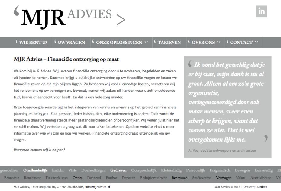 MJR Advies - Homepage